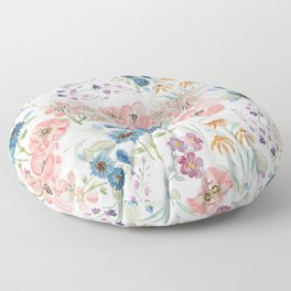 Watercolor field floral hand paint Floor Pillow