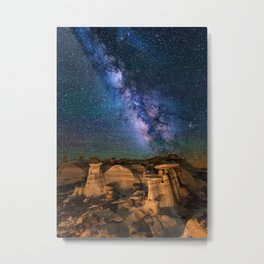 Milky Way Night Sky Over Mountains Metal Print