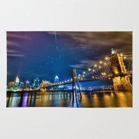 cincinnati Area & Throw Rugs featuring Cincinnati Skyline by Dylan Thomas