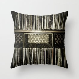 Record Crates Throw Pillow