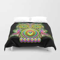 psychedelic art Duvet Covers featuring Owl Psychedelic Art Design by BluedarkArt