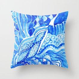 watercolor blue composition Throw Pillow