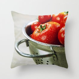 fresh tomatoes (in metal colander) and herbs on a wooden table Throw Pillow