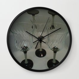 Silver & Black Stemmed Parfait Glasses Wall Clock