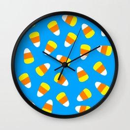 Candy Corn on Blue Wall Clock