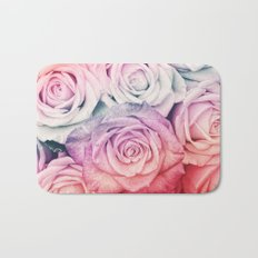 Some people grumble II  Floral rose flowers pink and multicolor Bath Mat