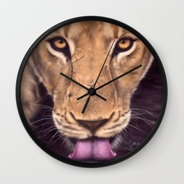 African Lioness Painting Wall Clock
