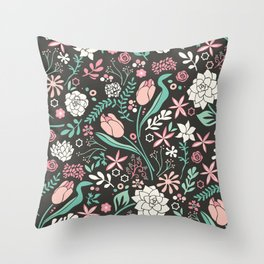 Tulip flowerbed Throw Pillow