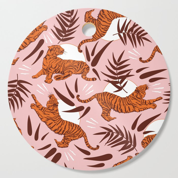 Vibrant Wilderness / Tigers on Pink Cutting Board