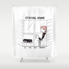 Staying Home Shower Curtain