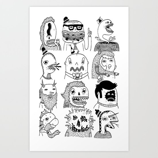 Monster Meet Up Art Print