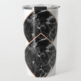 Diamond black marble - rose gold gilded Travel Mug
