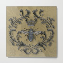 French Bee with Gold Damask Background Metal Print
