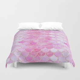 Pink Pearlescent Mermaid Scales Pattern Duvet Cover