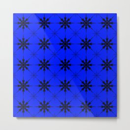 Pattern of luminous dark repetitive snowflakes on a blue background. Metal Print