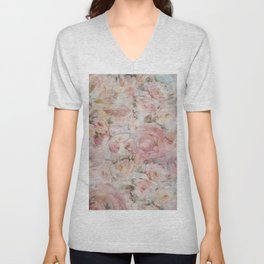 Vintage elegant blush pink collage floral typography Unisex V-Neck