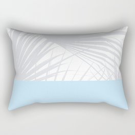 Tropical Pastel Grey Palm Leaves on Soft Blue Rectangular Pillow