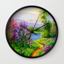Lilac bloom on the river Wall Clock
