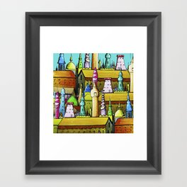 bright pattern of the houses Framed Art Print