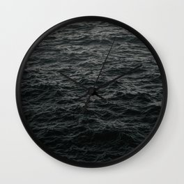 GRAYSCALE PHOTO OF BODY OF WATER Wall Clock