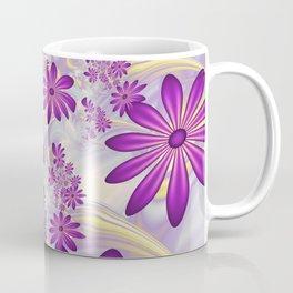Fractal Art Dancing Purple Flowers Coffee Mug