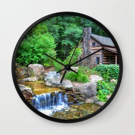 Cabin at the Botanical Gardens in Clemson Wall Clock