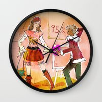 shopping Wall Clocks featuring Shopping by hazukei