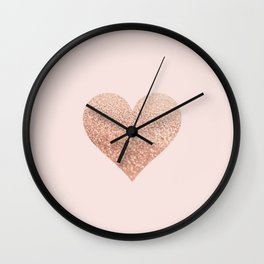 ROSEGOLD HEART BLUSH Wall Clock