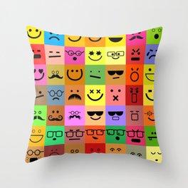 Square Emoji Faces Throw Pillow