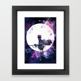 Kiki & Jiji Flying Over The Moon Kiki's Delivery Service Framed Art Print