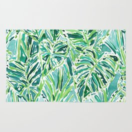ELEPHANT EARS Green Tropical Leaves Rug