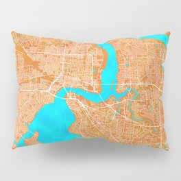 Jacksonville, FL, USA, Gold, Blue, City, Map Pillow Sham