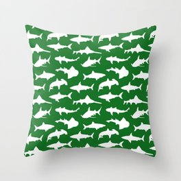 Sharks on Jewel Green Throw Pillow
