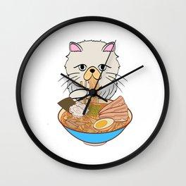 Cats Eating Noodles Out Of A Ramen Bowl T-shirt Design Kitty Kitten Meow Animals Pet Animal Hot Wall Clock