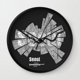 Seoul Map Wall Clock