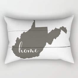 West Virginia is Home - Charcoal on White Wood Rectangular Pillow