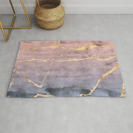 Watercolor Gradient Gold Foil Rug