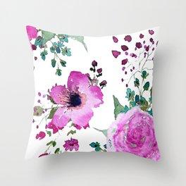 Poppies Roses Wildflowers Fushia Throw Pillow
