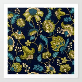 Green and Blue Indian Floral in Dark Blue Art Print