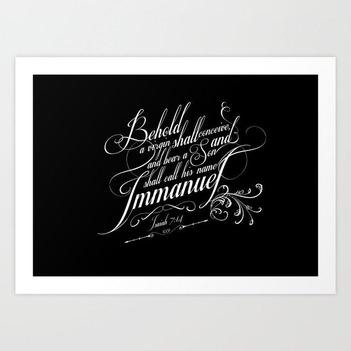 Typographic Motivational Bible Verses - Isaiah 7:14 Art Print