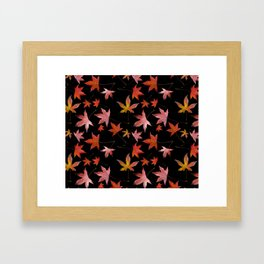 Dead Leaves over Black Framed Art Print