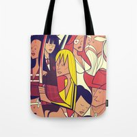 bill Tote Bags featuring Kill Bill by Ale Giorgini