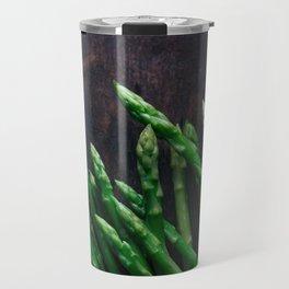 Asparagus on wooden floor Travel Mug