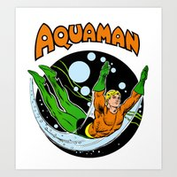 aquaman Art Prints featuring aquaman by Craig Bostick