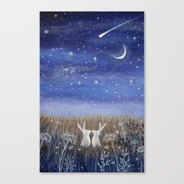 Hares and the Crescent Moon Canvas Print