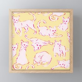 Cat Crazy yellow Framed Mini Art Print