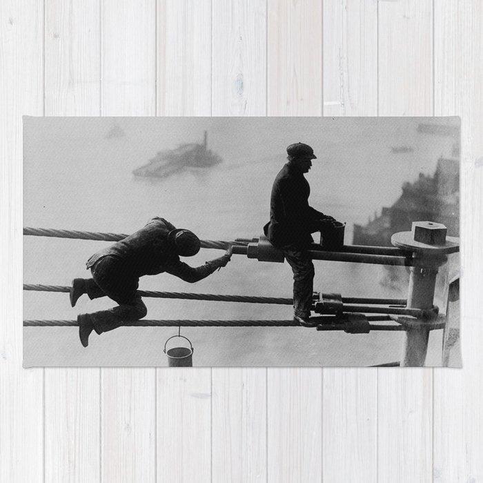 Brooklyn Bridge Painters Vintage Photograph (1915) Rug