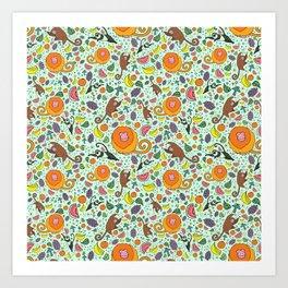 Cute Monkeys and Fruit Art Print
