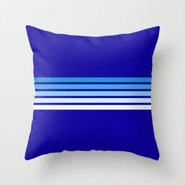 Minimal Maritime Abstract Retro Stripes 70s Style on Blue - Oceanica Throw Pillow