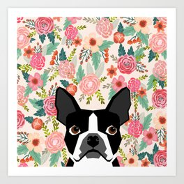 Boston Terrier floral dog head cute pet portrait gifts for boston terriers must haves Art Print